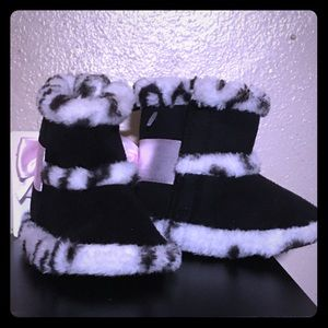 Black and White Faux Fur Boots
